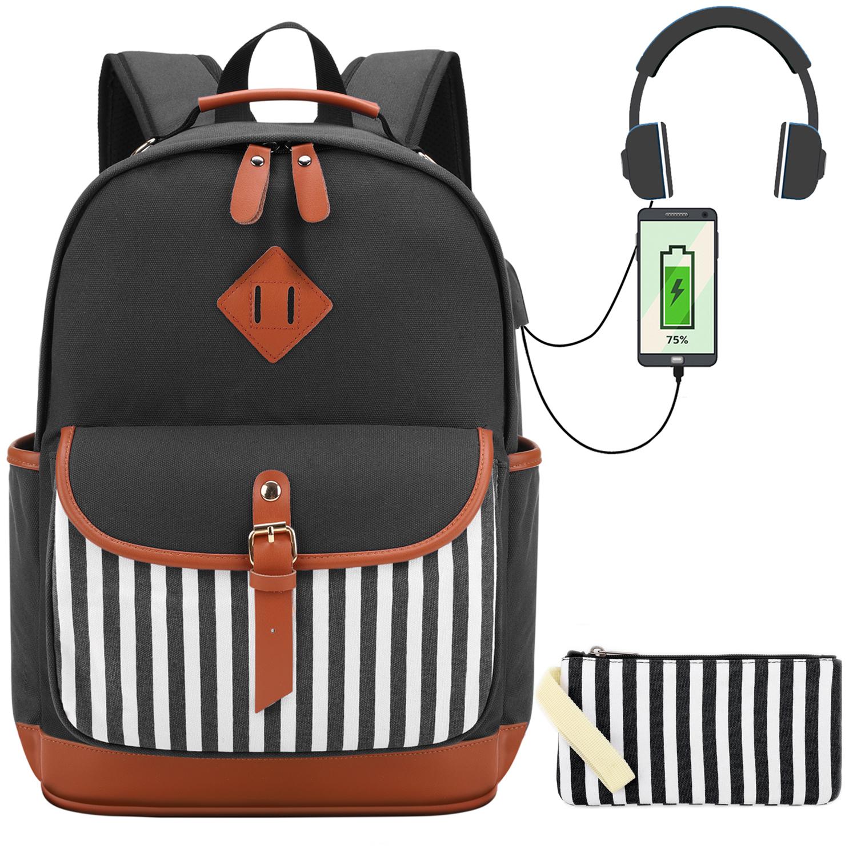 Canvas Backpack Girls Stripe School Bookbag Women College Backpack With USB Port